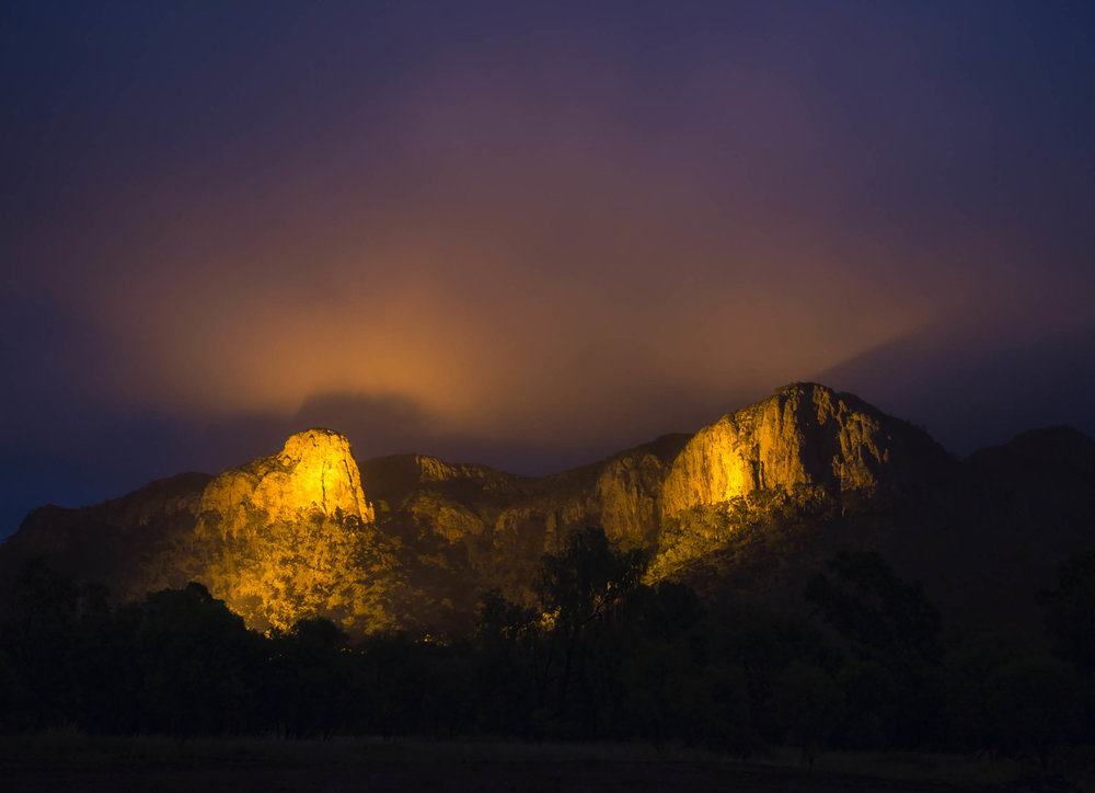 Spotlights on Virgin Rock and Mount Zamia are stunning at night!