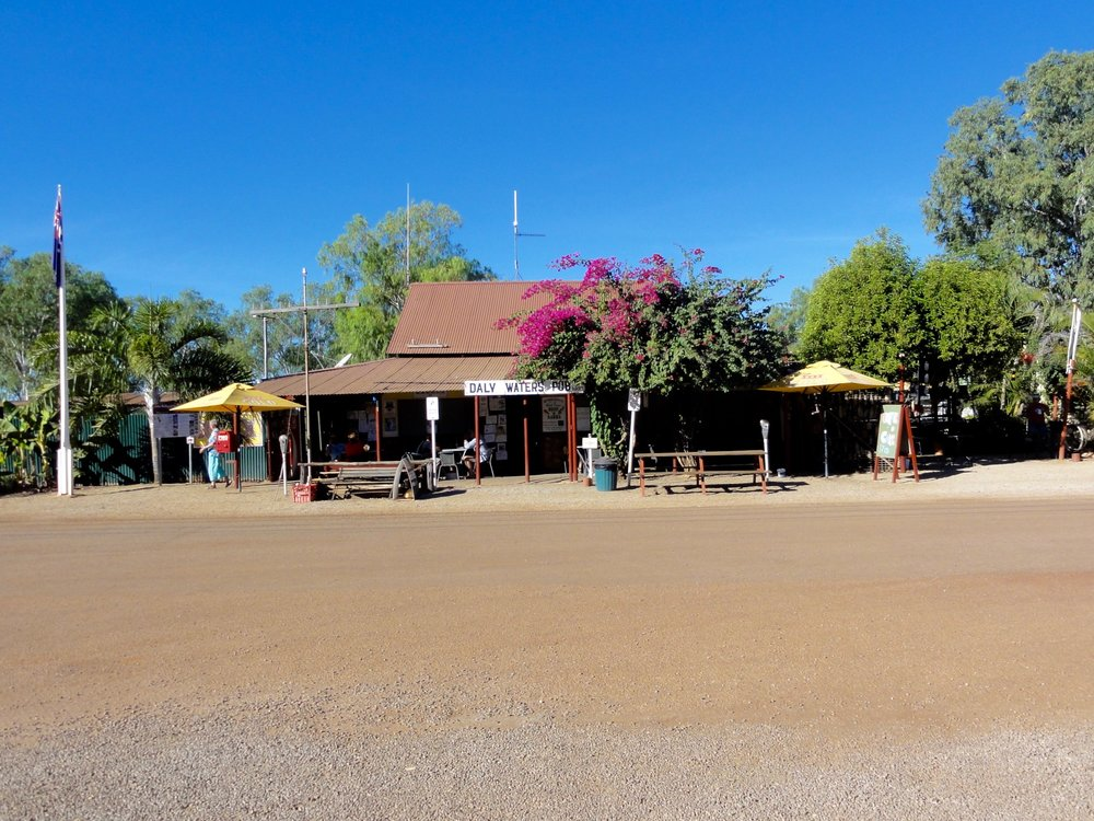 Daly Waters Hotel is on the Stuart Highway on the way to Darwin. Here we were entetained in a kooky, hillbilly style - there was a band and a comedian, a real leathery outback character. Not necessarily our taste, but it's a must along this iconic Australian road.