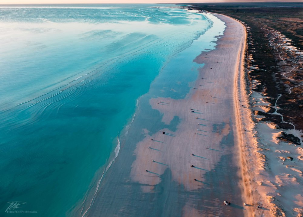This stunning aerial shot was taken by Mr Fritz from a small Cesna plane. It beautifully highlights the vast beach, blue sea and the dunes that were lit up by the setting sun.