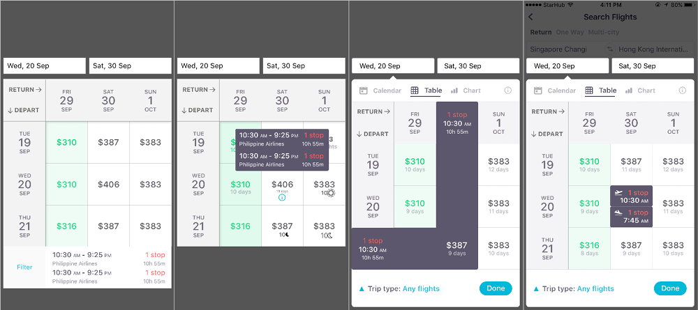 Iterations of ways to show more flight info