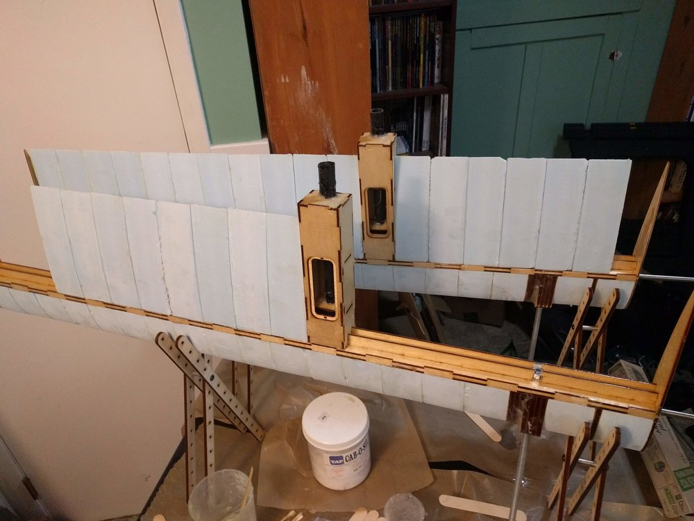 Wing frame with the foam blocks partially assembled.