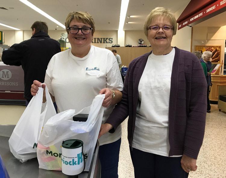 Friock Hub Fund raising Morrisons Bag Pack