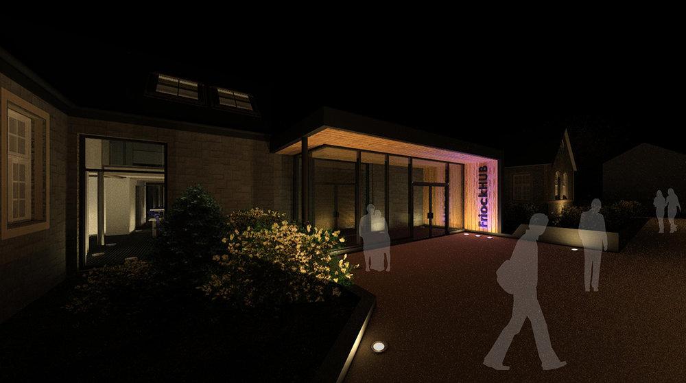 Friock Hub front entrance at night