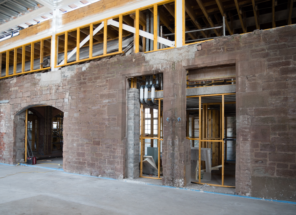 brickwork retained in main hall