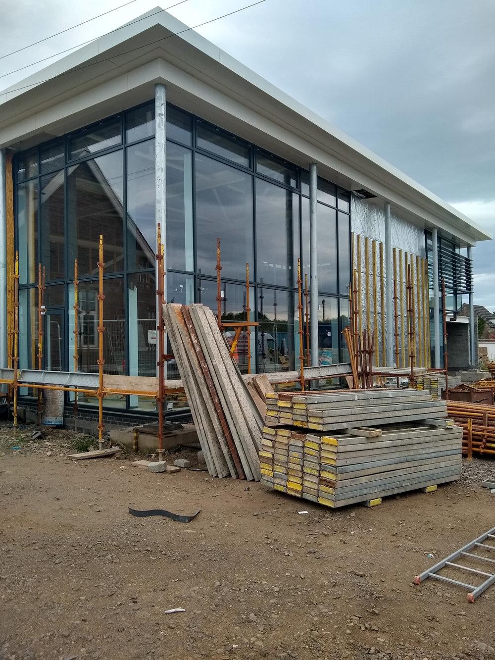 Friock Hub scaffolding going down