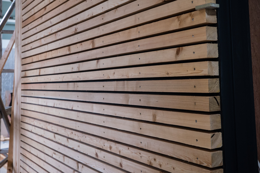 Larch wooden panels at Reception