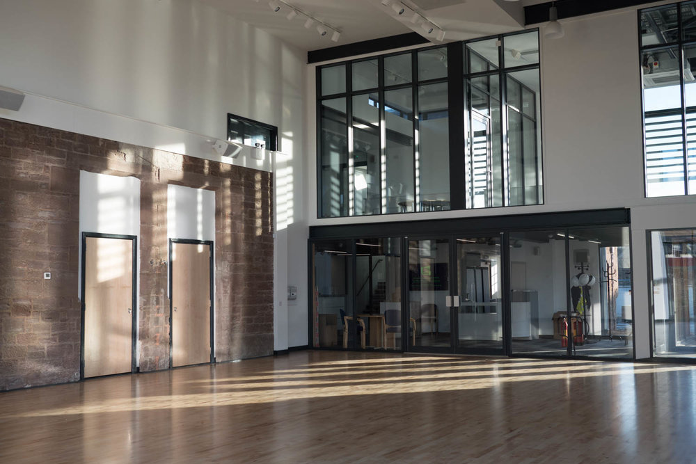 Sports Hall (Andson Hall) looking towards cafe, gym and exhibition are upstairs.