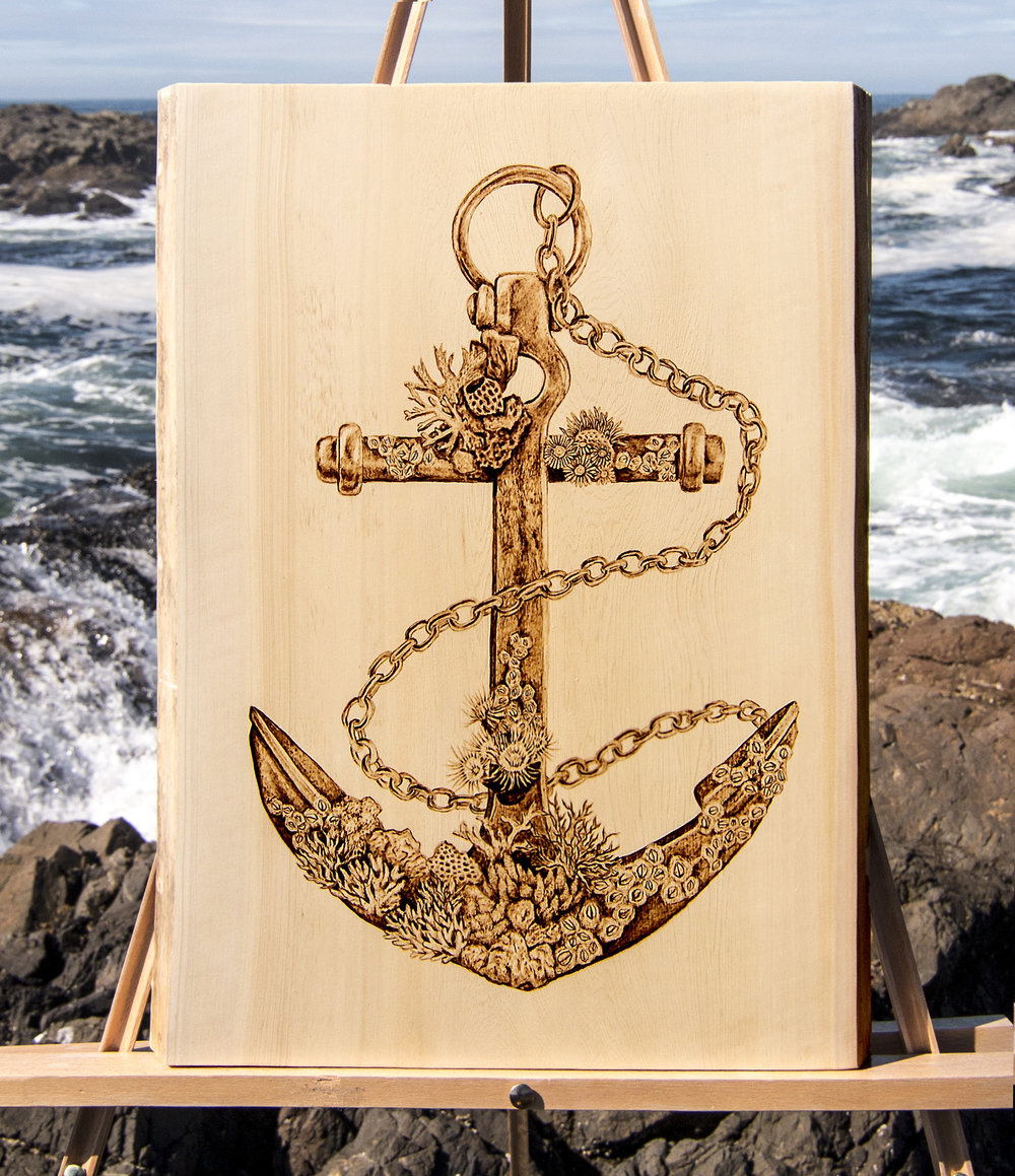 "Anchor, Live Edge Yellow Cedar, 16"" x  20"",  2017."