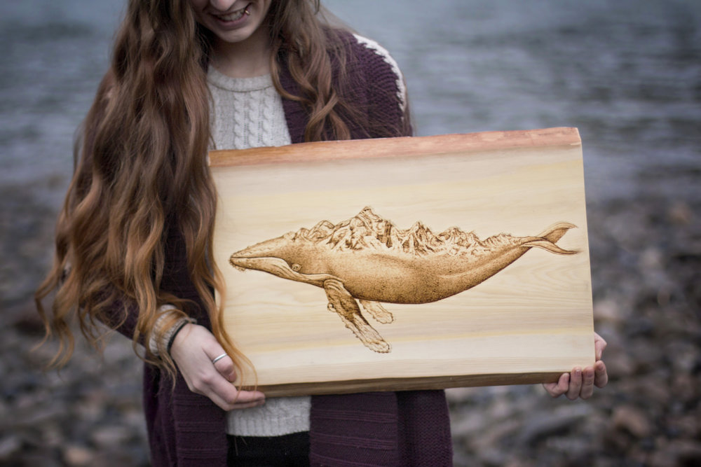 "Whale and Mountains, Live Edge Yellow Cedar, 16"" x 20"", 2017."