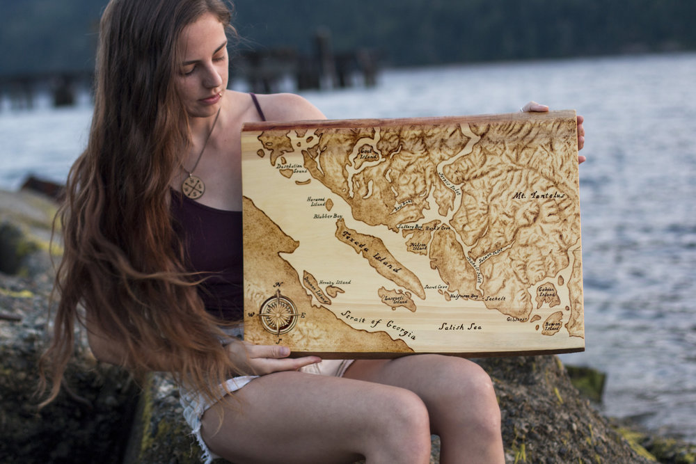 "Sunshine Coast Map, Live Edge Yellow Cedar, 16"" x 20"", 2018."