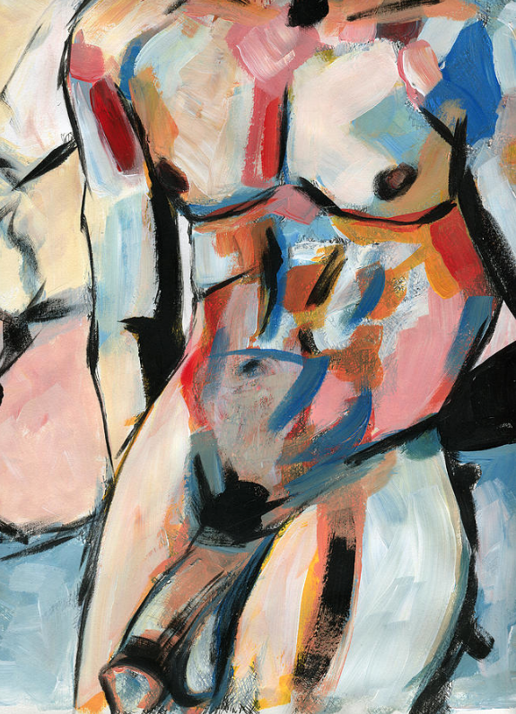 TORSO UNTOUCHED (2016) - Acrylic on paper. This version of the work is only available as a print via FAA store.