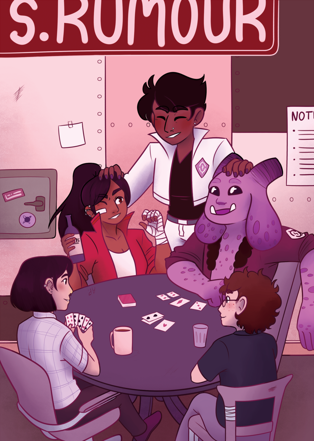 "Piece for the charity fanbook ""Queercasts"", of the cast of the podcast ""The Strange Case of Starship Iris""."