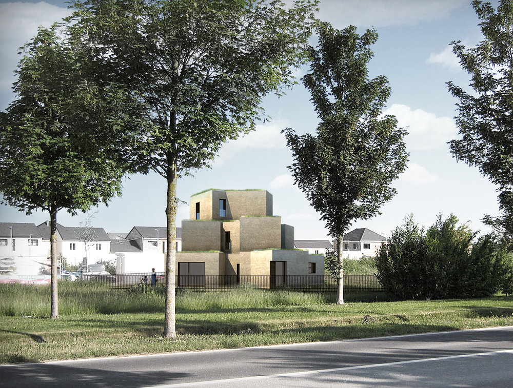 bldg - SEPT. 2018   Façade prototypes have been delivered to the construction site of the MAISON AFRIQUE near Reims, France