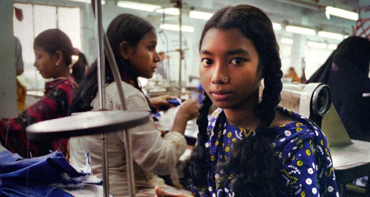 "Young workers in a garment factory in Bangladesh, from the Oxfam report ""Reward Work, Not Wealth"""
