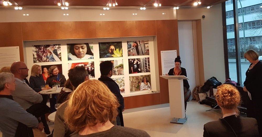 Maxine Williamson, artistic advisor for FRAME, speaking at its launch at the Berlin International Film Festival in February 2019