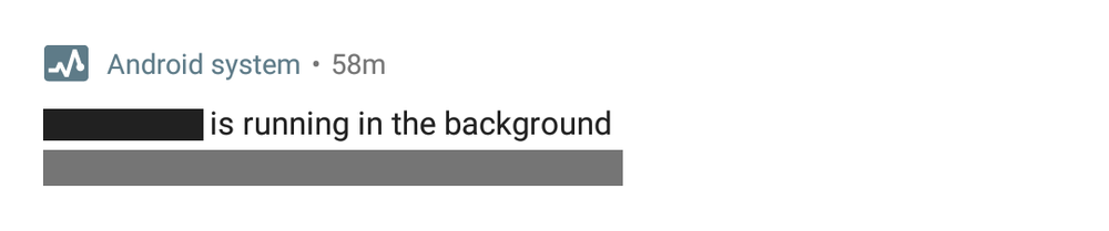 """figure 1: """"running in the background"""" system notification in Android 8.0 except for pixel 2 (XL)"""