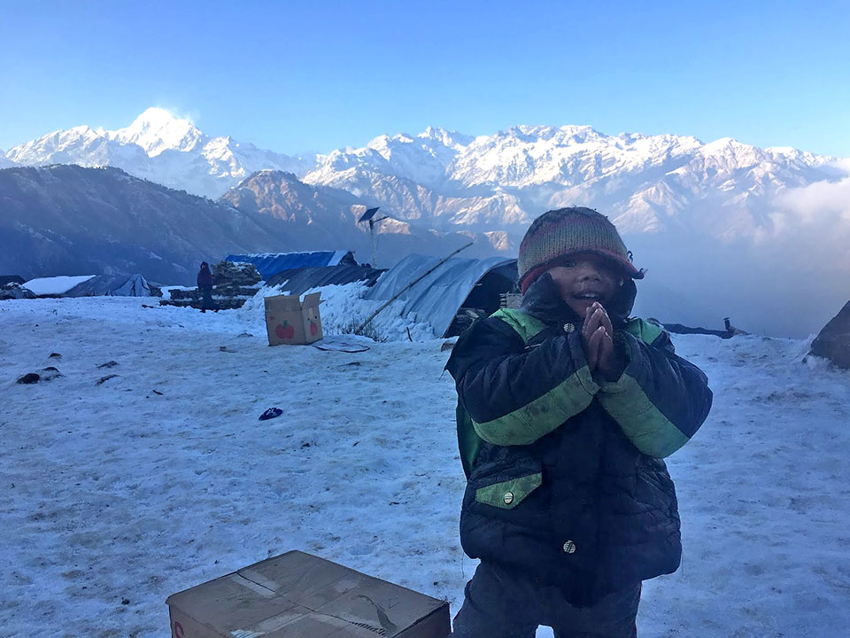 Laprak, Nepal, January 2016 — Taken on my second trip up to the camp when we delivered almost 2,000kg of fresh mustard oil, and basic medical supplies.