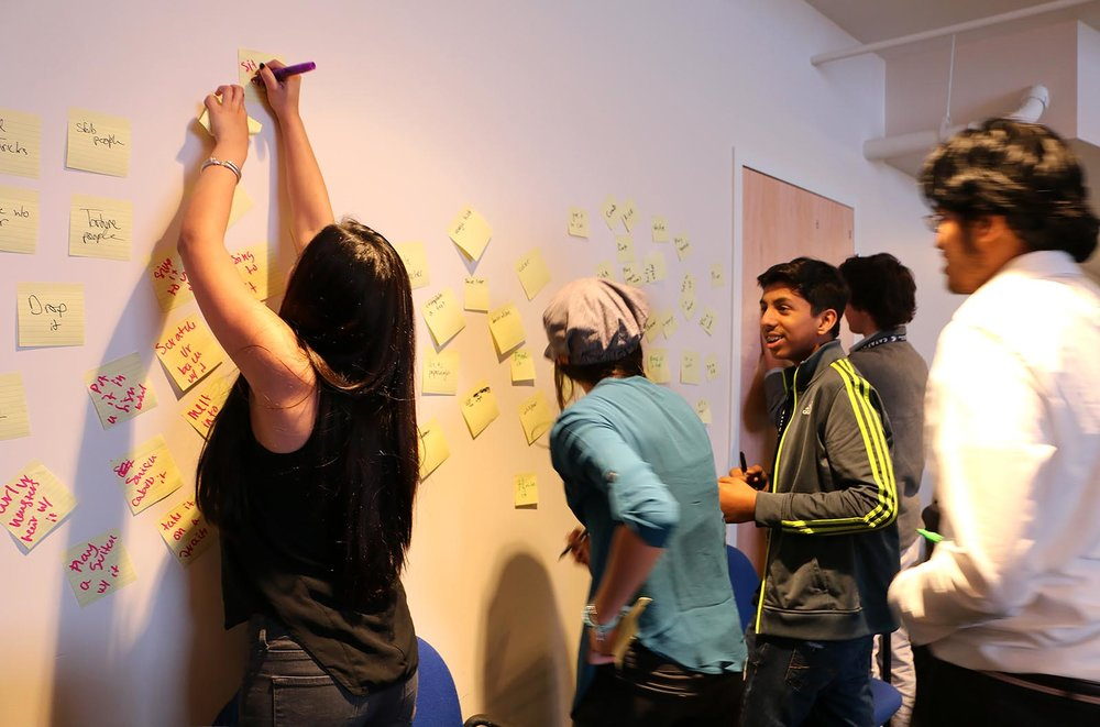 A team from the QØ Catapult Incubator Ideating, look at them go.