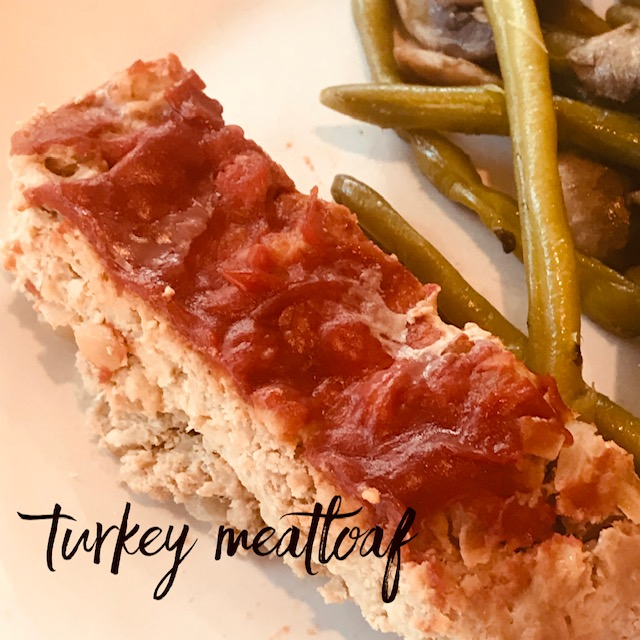 Recipe:  3 lbs ground turkey  2 large onions  2 tbsp. olive oil  1/2 tsp dried thyme  1/4 cup Worcestershire  1/2 cup chicken stock  1 tsp tomato paste  1 cup old fashioned oats  2 large eggs beaten  Salt/pepper  1/2 cup ketchup  1. Heat oven to 325 degrees.  2. In sauté pan, cook onions, olive oil and thyme until onions translucent. Add the Worcestershire, chicken stock, and tomato paste and mix well. Allow to cool.  3. Combine turkey, oats, salt/pepper, and onion mixture in a large bowl. Mix well and shape into a rectangular loaf on an ungreased sheet pan. Spread ketchup evenly on top. Bake for 1.5 hours or until meatloaf is cooked through. A pan of hot water in the oven will keep the top from cracking!