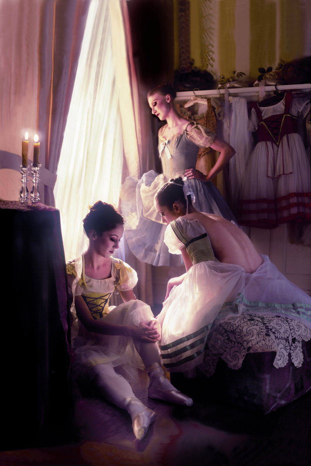 THREE DANCERS AT EASE BY WINDOW