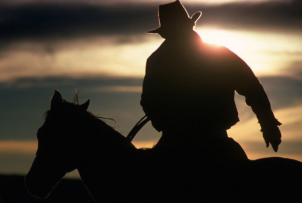HORSEMAN AT SUNSET