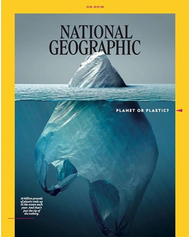 ‪Plastic bags: the tip of the iceberg for #plasticpollution. ✨Check out this #nationalgeographic issue focused on #planetorplastic - the cover gracefully captures the issue.