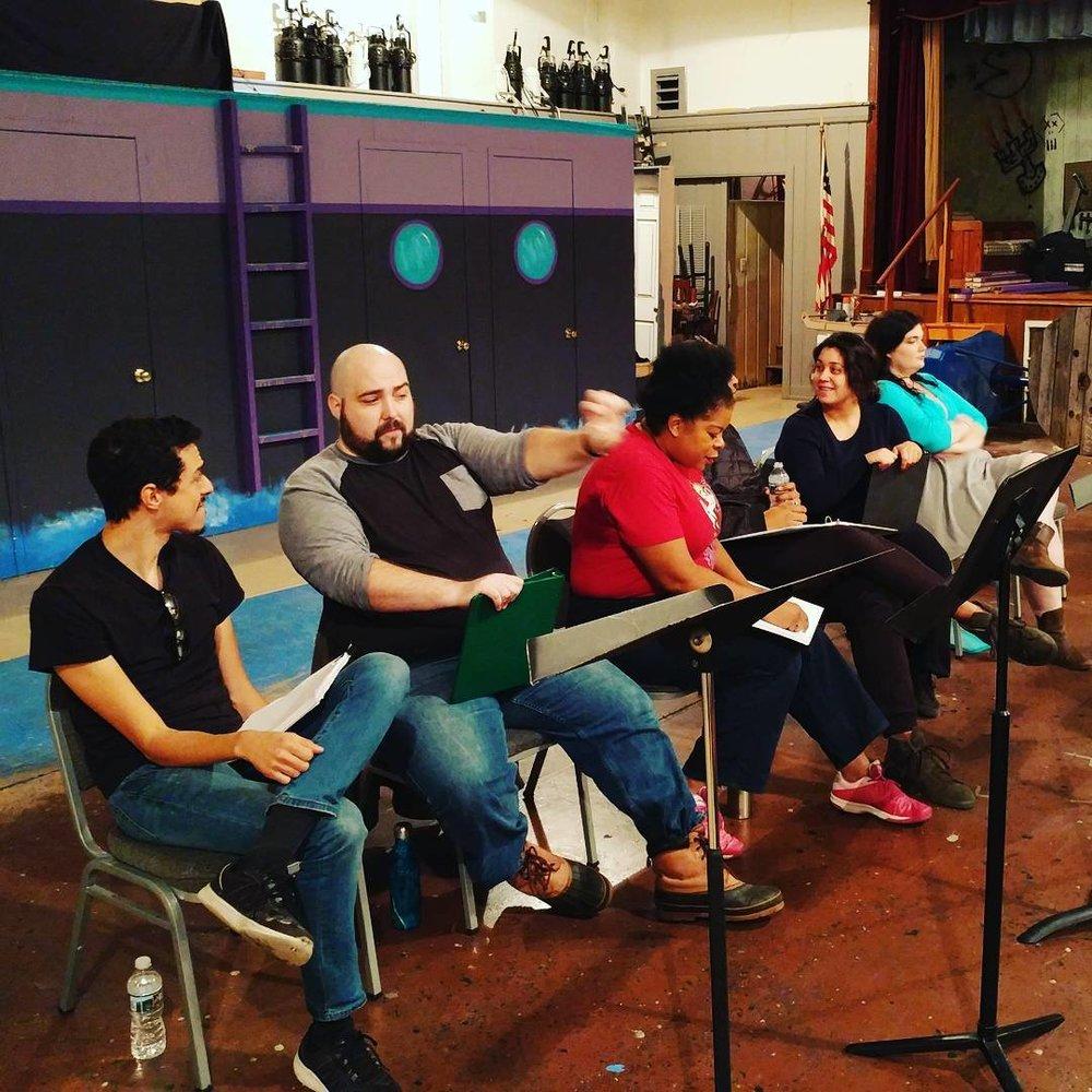 Justin Johnson, Alexander Scally, Kay-Megan Washington, Jess Rivera, and Allison Bloechl at Cohesion Theatre Company.