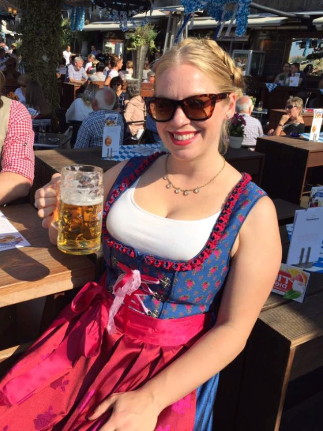 Oktoberfest in a genuine dirndl.