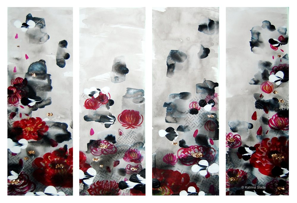 The red chrysanthemum inspired painting created to represent several facets of Chinese culture.