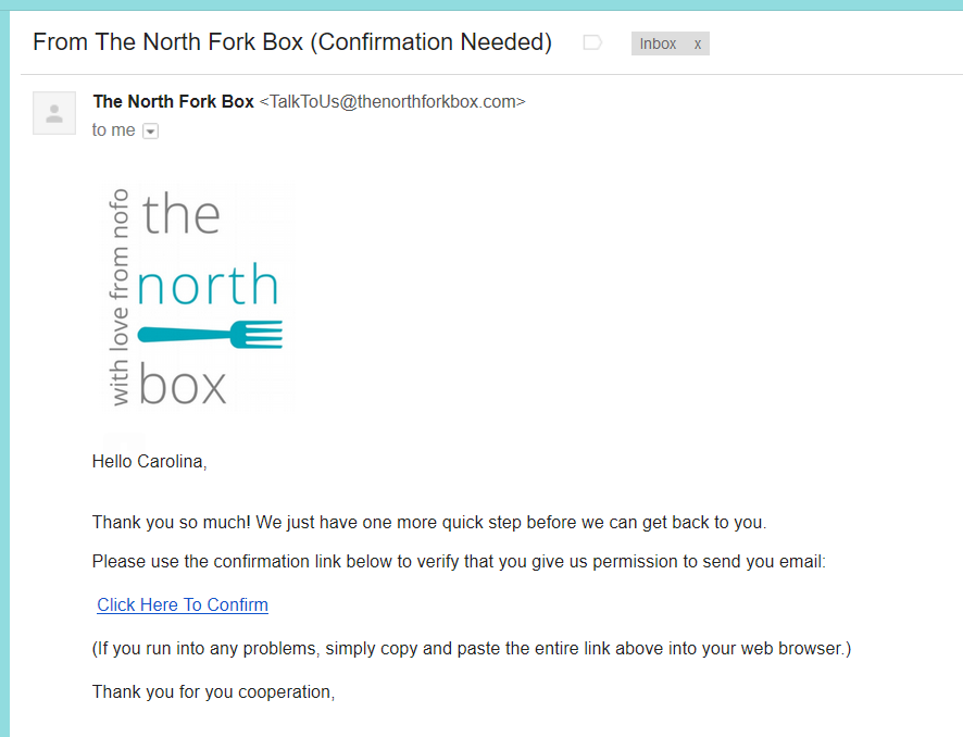 thank you for your order the north fork box