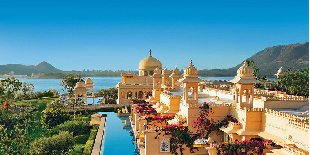The grand private pools of The Oberoi Udaivilas