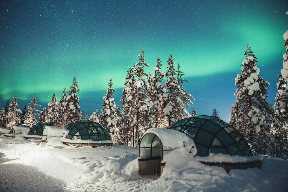 Kakslauttanen glass igloo Northern Lights Finland