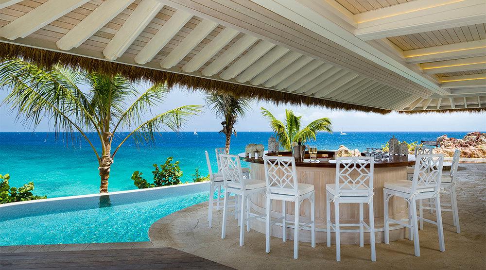 The pool deck on Brandon's Mosquito Island