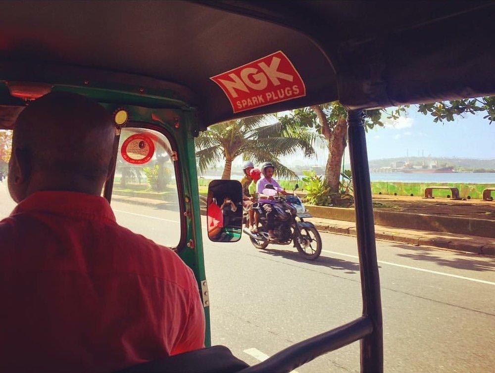 Taking a tub tuk in Sri Lanlka