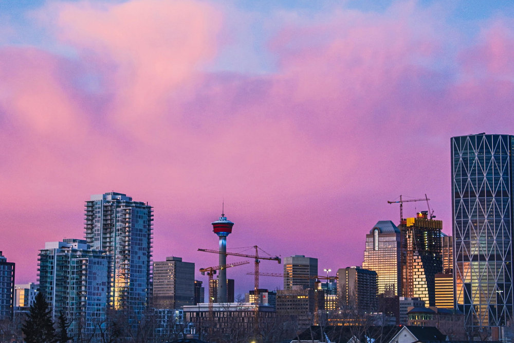 Sunset over downtown Calgary. Image credit Simon Greenwood