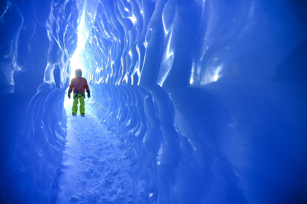 Exploring ice tunnels in Antarctica