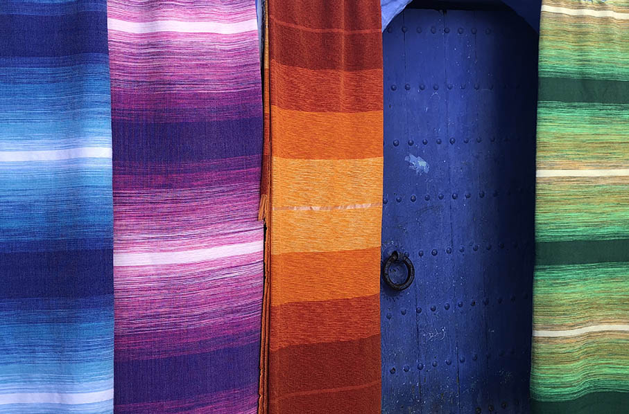 Fabric on sale in Chefchaouen