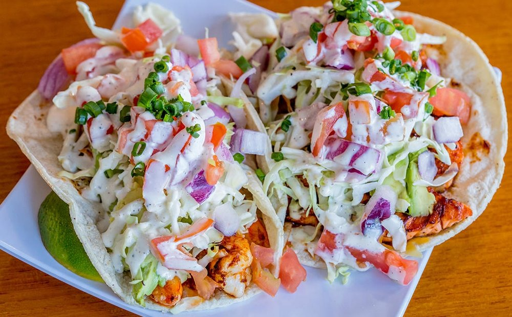 Fish tacos. Photo Credit: Blue Water Seafood Market & Grill