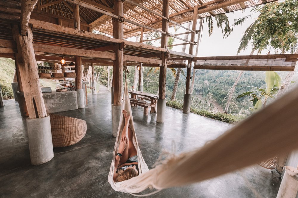 Relaxing in a hammock overlooking the Balinese jungle. Photo credit:  @jareddrice