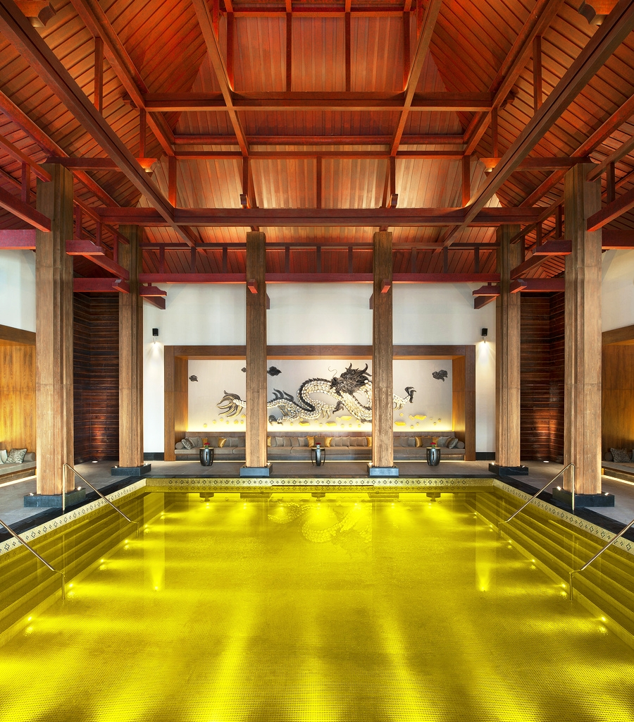 Liquid gold fills the pool at St. Regis Lahasa Resort