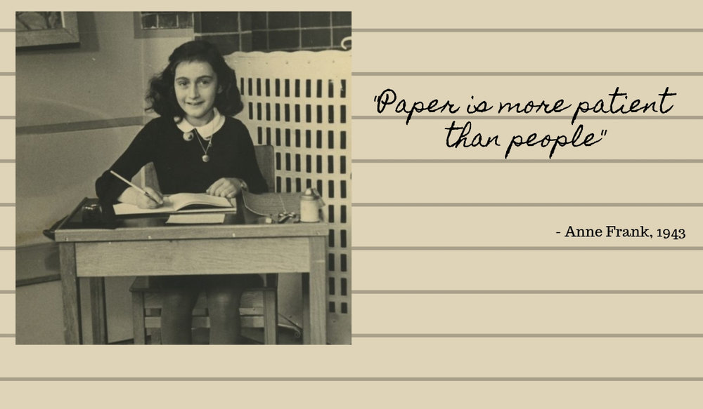 Anne Frank writing in her diary. Photo Credit: The Anne Frank Museum.
