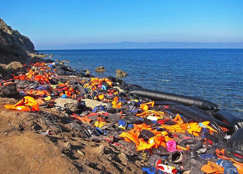 Discarded life jackets on Lesvos Island.