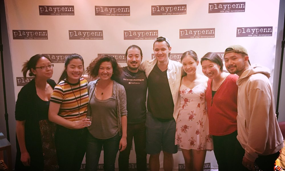 Post reading photo in the lobby. From left: Debby Lau, Amy Boehly, Lisa Dring, Myself, Tyler Elliot, Levana Wang, Gina Pisasale, Robert Lee Leng.