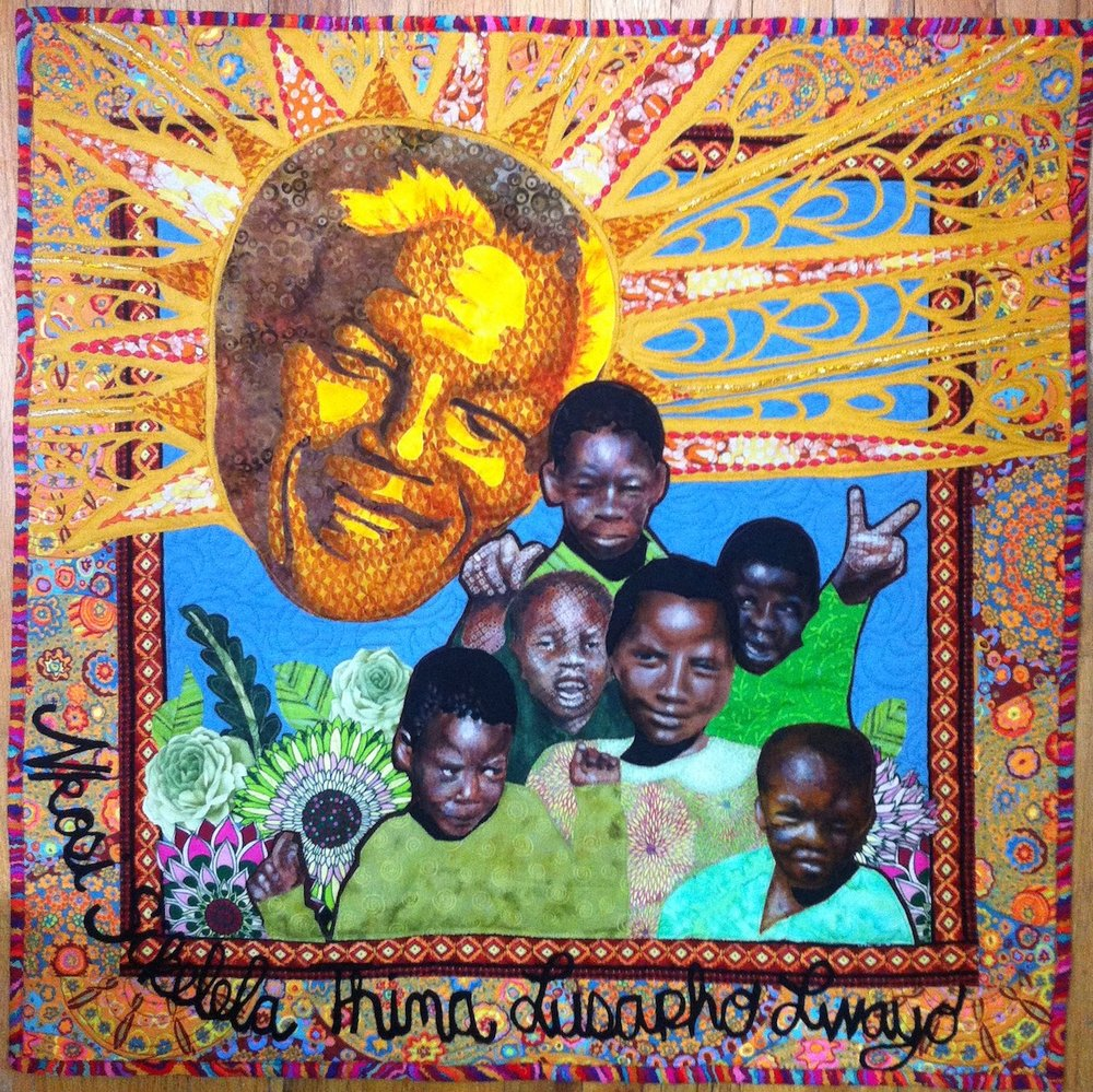 Madiba Shines and Good Things Grow, art quilt