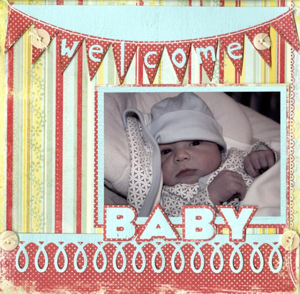 Here's a scrapbook page I created using the  Pennants Die  and the  Loop De Loo Die .