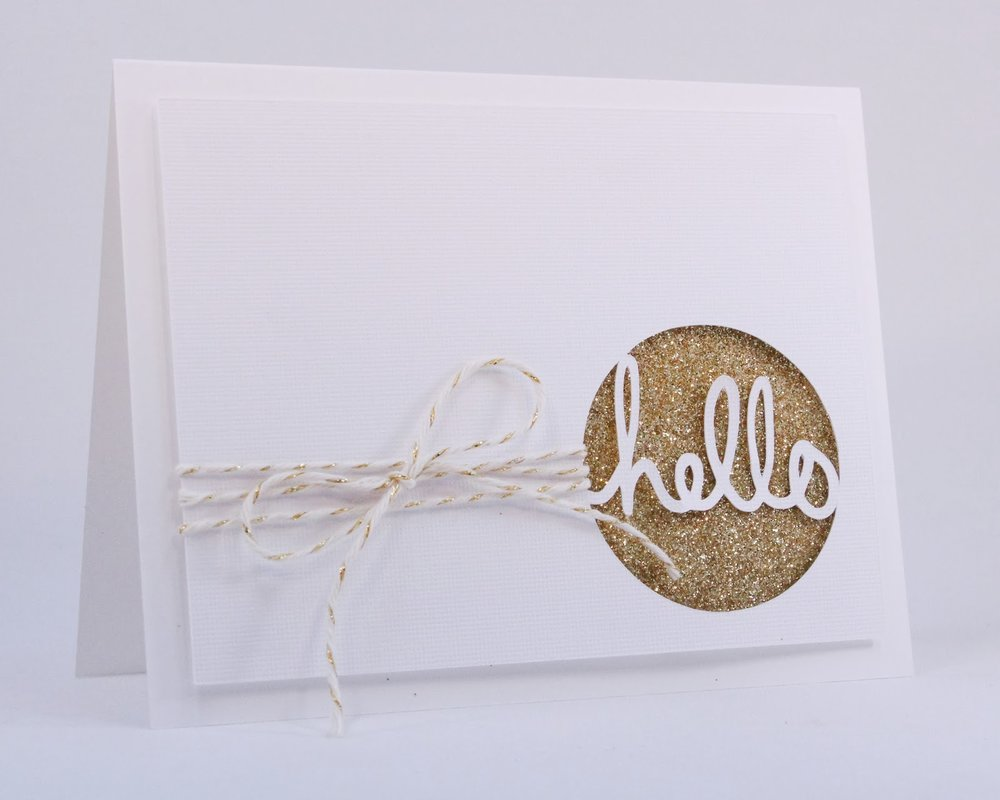 I used some glitter and twine to create this sparkly card. This one might be my favorite!