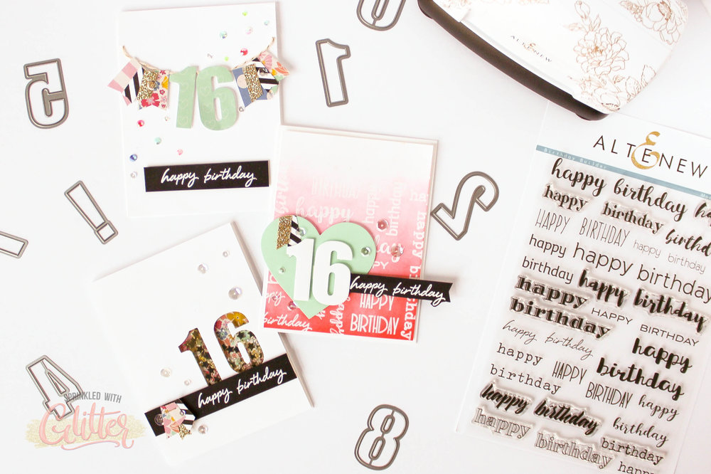 Bold Numeral Birthday Cards Altenew December 2017 Release Blog Hop