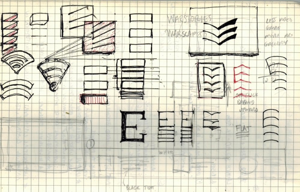 """My early logo sketches suggest the letter """"E"""" while drawing inspiration from the sound waves of echoing noises and the chevrons and hashmarks of military insignia. The final choice (the larger boxed-in logo at top right) also invokes the open pages of books and the wings of aircraft in formation."""