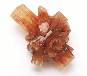 Aragonite's crystal lattice -  orthorhombic  crystal system with  acicular  crystal.