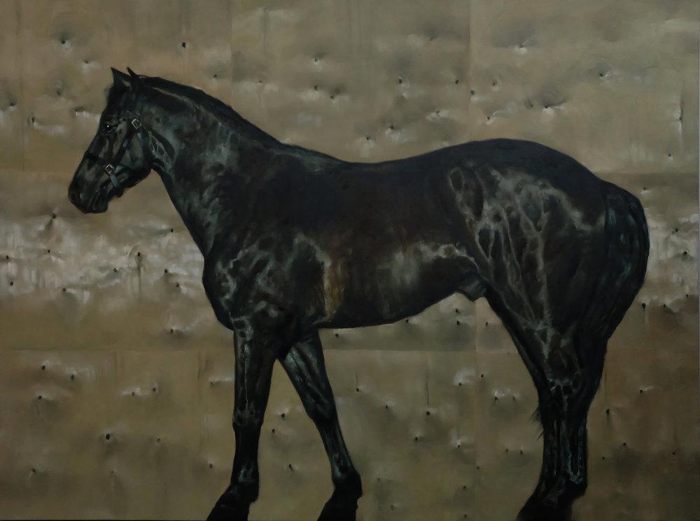 Horse on Wood Panel